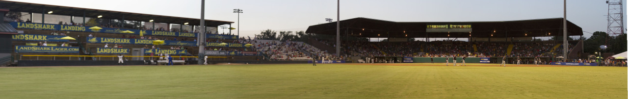 Panorama of the view from center field in between innings at Historic Grayson Stadium in Savannah, GA.