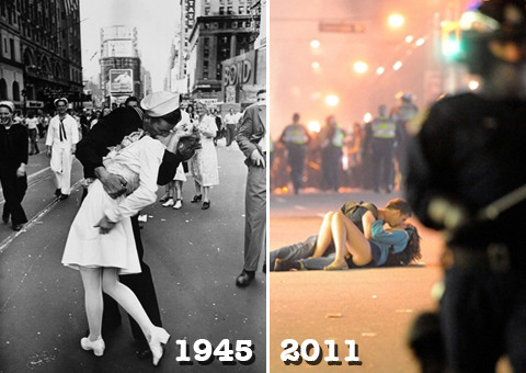 """destroy-capitalism :      nerdycurvyboundandflirty :      variticlaia :     Let's go back to 1945…     Let's not…  Let's play a game called """"Context Matters!""""    That picture on the left, so iconic and romantic?  Yeah, that's a sexual assault right there . That man was a stranger, a strong stranger who grabbed a random woman on the street, and """"kissed"""" her. In  her words:      Suddenly, I was grabbed by a sailor. It wasn't that much of a kiss… """"I felt that he was very strong. He was just holding me tight. I'm not sure about the kiss…it was just somebody celebrating. It wasn't a romantic event.     That picture on the right, the one that looks like a man holding a woman down in the mists of a riot, her clothes disheveled as he kissed her hard?  That man is her boyfriend. He's comforting her. Her real attackers are the police . An  eyewitness stated :     The girl who was knocked over landed head first on the pavement with her boyfriend landing partially on top of her. She was in visible pain, crying, but the two officers gave them a parting shove and moved on.      The left picture:  an icon of sexism, male privilege, and female objectification.    The right:  real love in the face of brutal state force.     Fuck 1945"""