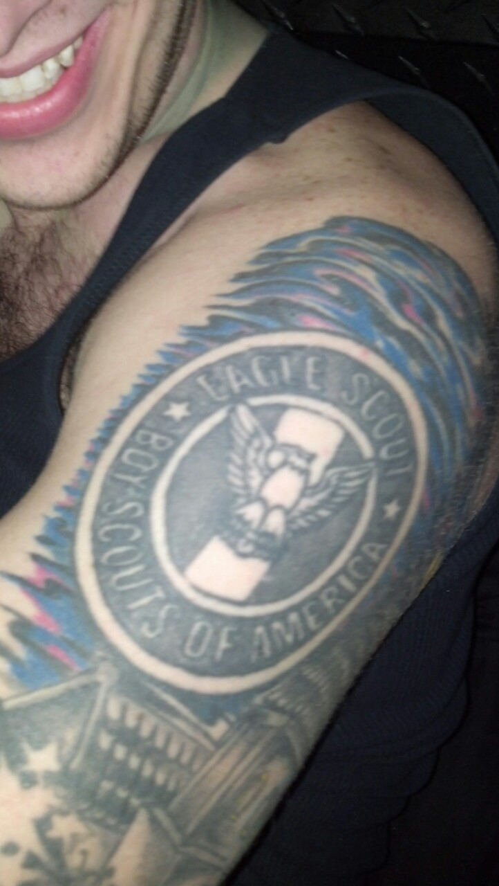 Yesterday I learned my friend Ricky had this bad ass eagle scout tattoo.