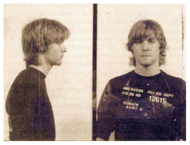 """Kurt Cobain - 19 years old - Arrested for spray painting """"God is gay."""""""