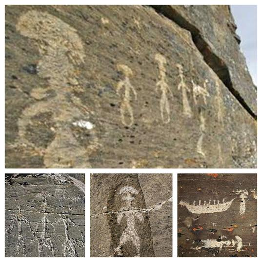 paleolithic petroglyphs from the Chukotka region of Northeastern Siberia.    Source link.