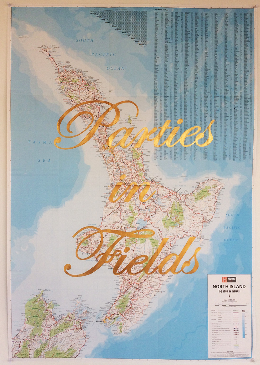 Riley Claxton. Parties in Fields. Gold paint on a map of the Nth Island