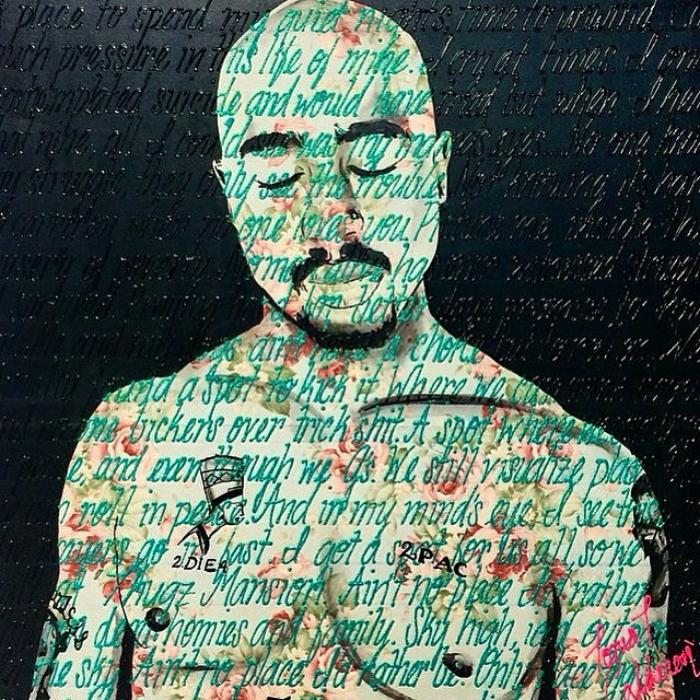 "TUPAC ""THUG MANSION"" / 36"" X 36"" / MIXED MEDIA ON CANVAS"
