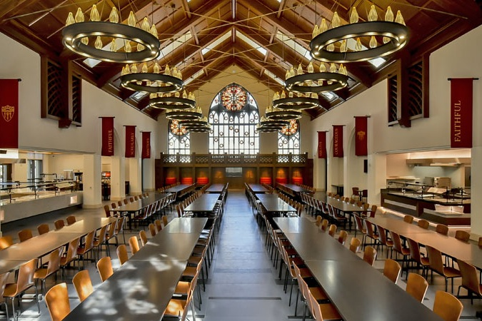 USC Village dining Hall - USC's new dining hall is visually impressive – collegiate gothic architecture, high ceilings, dramatic lighting and beautiful stained-glass windows accent the 8,000-square foot space with seating for over 400 guests.