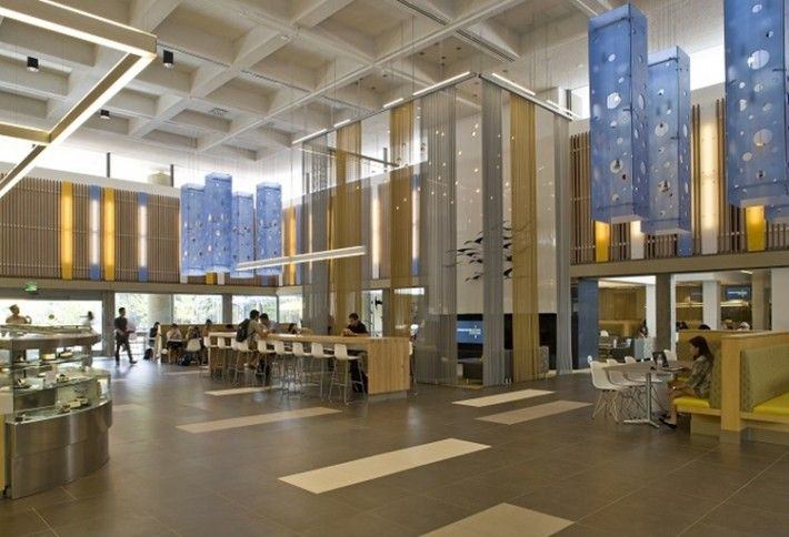 UCSD Dining hall - UCSD's 64 degrees offers a modern vibe, choose from five stations featuring burgers, shakes, salads, sandwiches, as well as, rotisserie and wok specials.