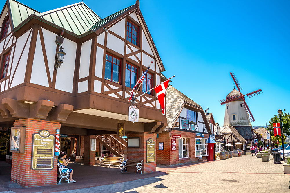 Solvang - Solvang, the Danish village nestled in the Santa Ynez Valley that looks and smells like Christmas year-round, with twinkling lights at night and baked goods served fresh every morning.
