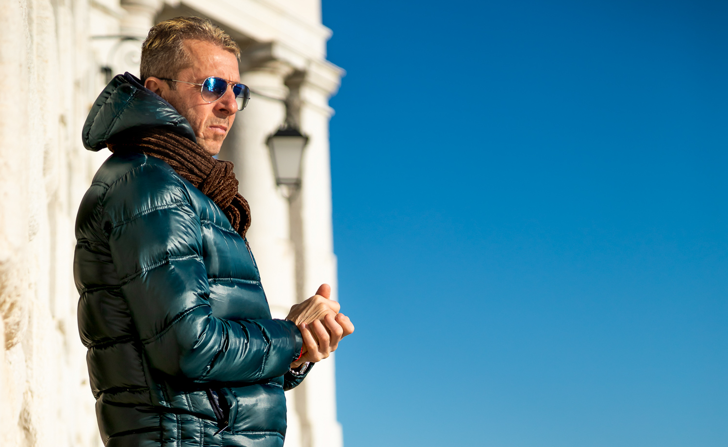 Candid portrait of Italian Man in Venice on one beautiful day