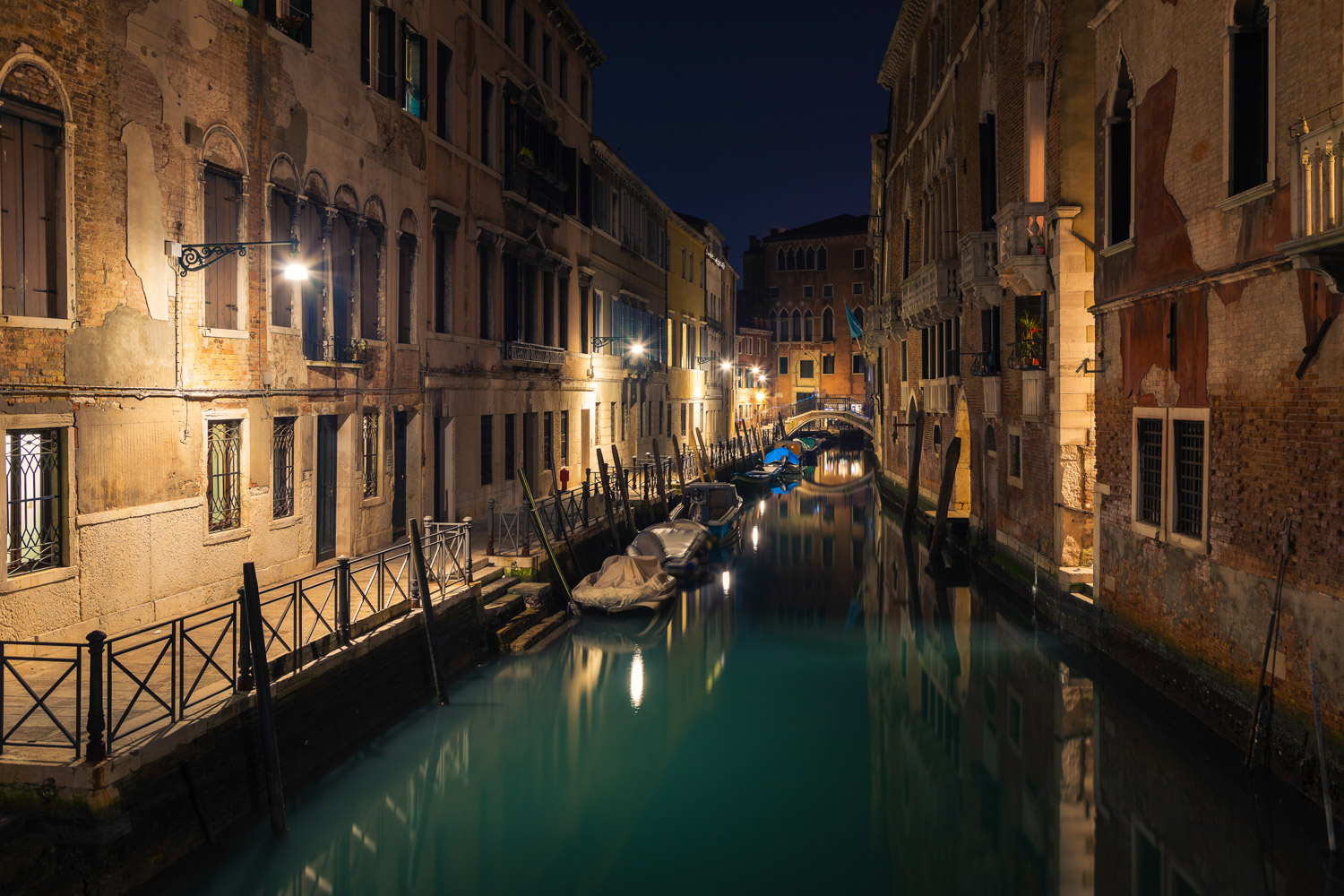 Venice Water Canal at Night