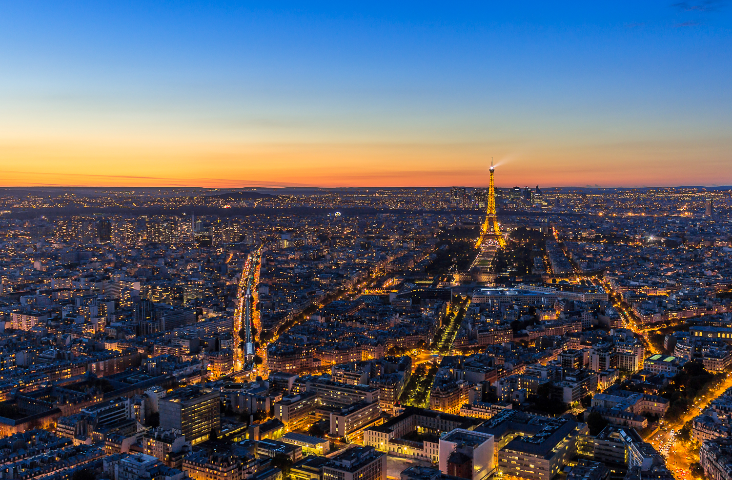 Romance in Paris - arial cityscape at evening