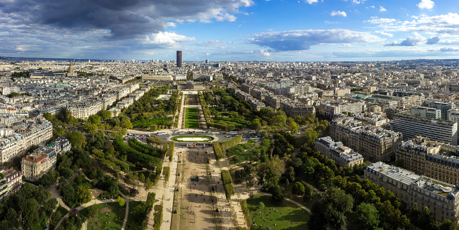 Panoramic view of Paris city from Eiffel Tower