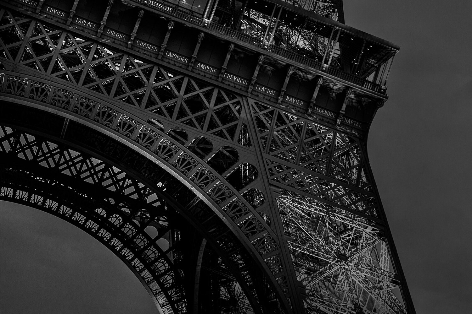 Eiffel Tower close up in black & white