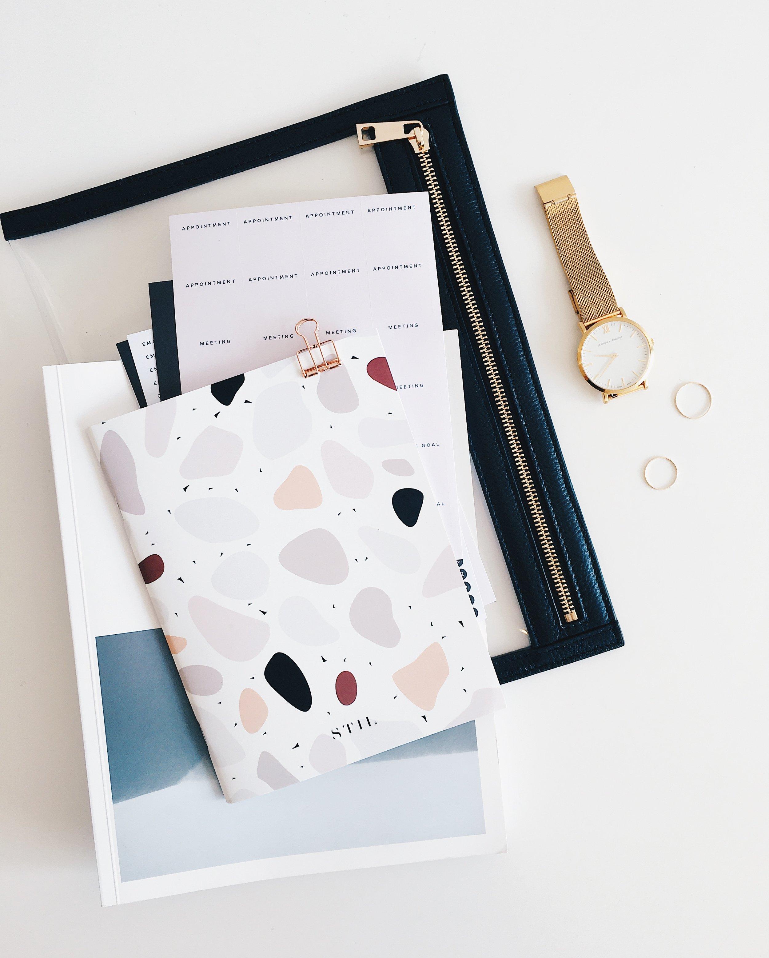 creative lifestyle and productivity blog | tawnimarie.com | notebooks, gold watch, organization
