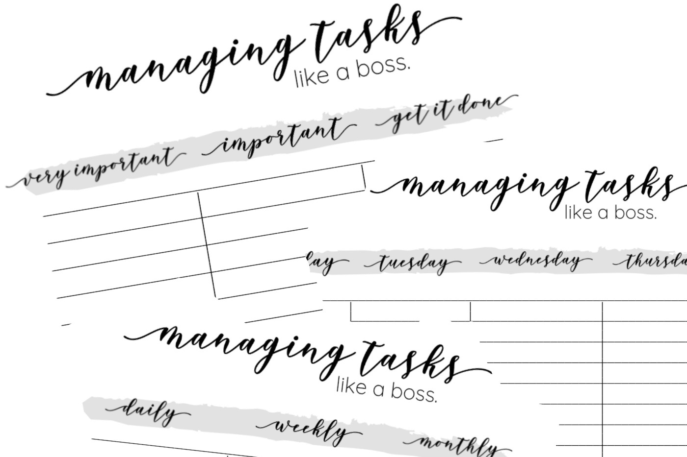 FREE PRODUCTIVITY WORKSHEETS   Manage Your Tasks Like A Boss with these Free Printable Worksheets. Get your free productivity worksheets now!