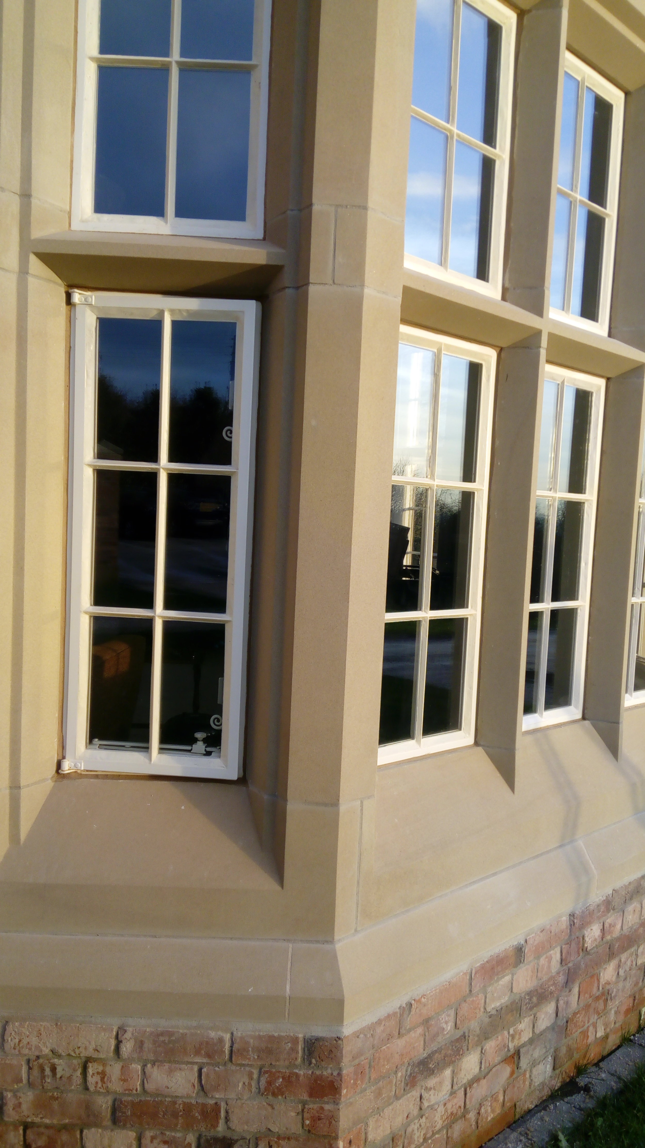 Metal casement windows close up