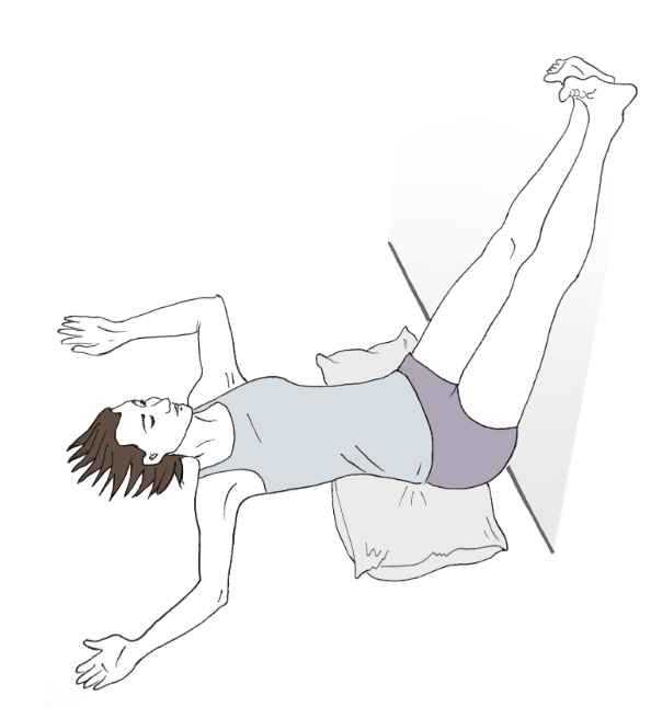 LEGS UP ON THE WALL POSE   To do this, lay on your back with your bum a few inches from the wall. Place a bolster under your hips and rest your legs against the wall. Relax.