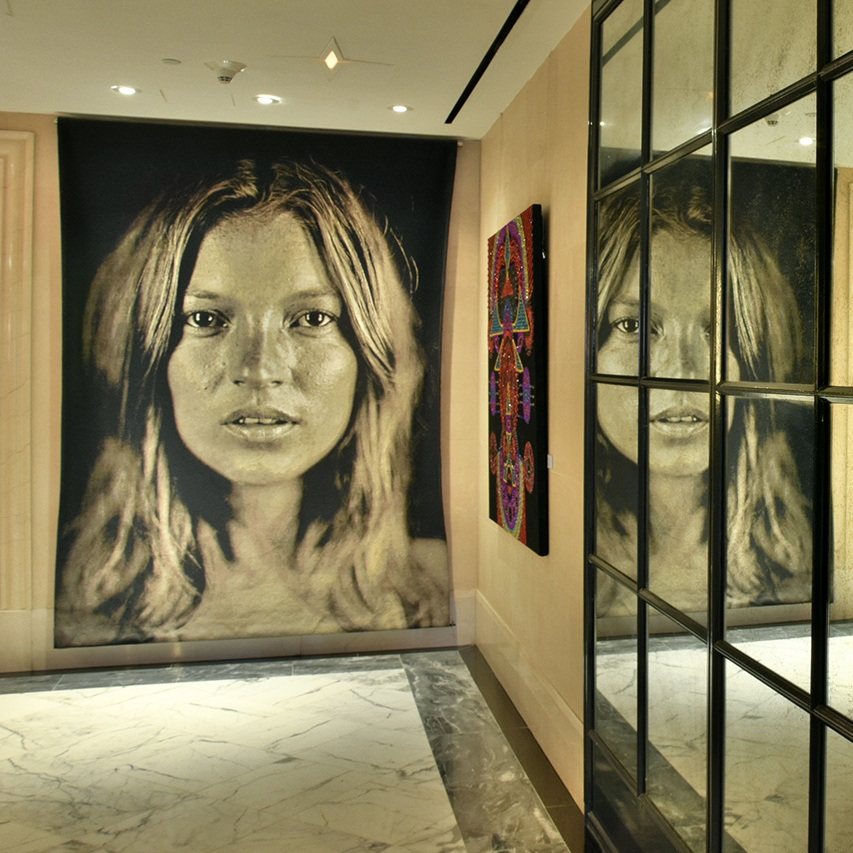 peter-d-gerakaris-moongate-nocturne-tondo-I-installation-view-at-surrey-lobby-next-to-kate-moss-by-chuck-close.jpg