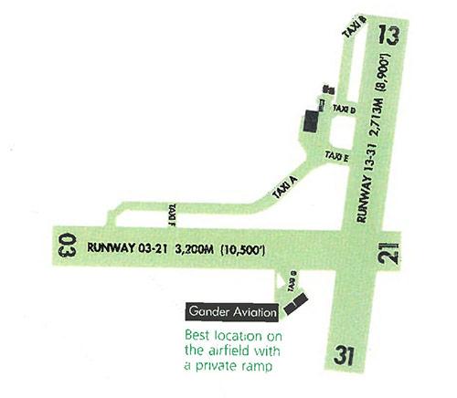 FBO Gander Aviation NL CYQX Location Map