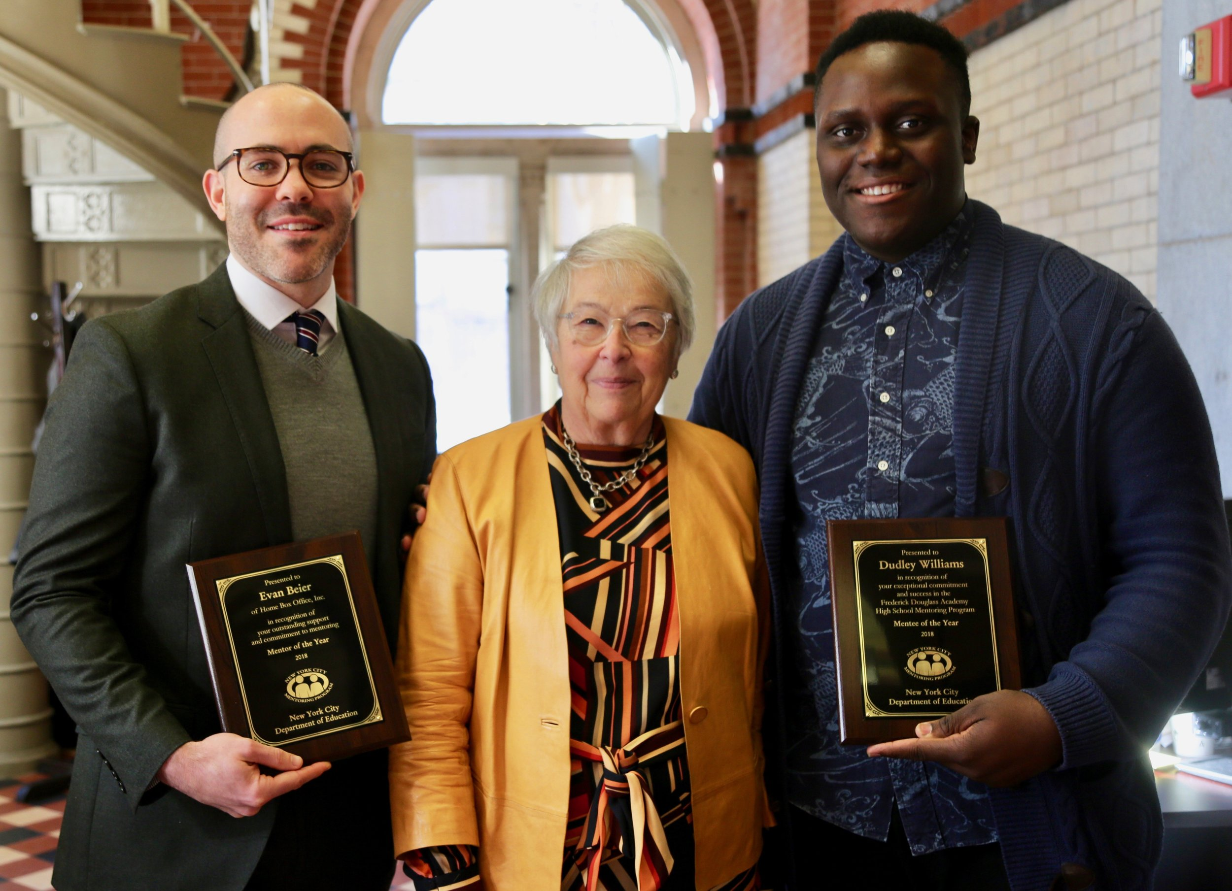 Evan (HBO), former New York City Department of Education's Chancellor Carmen Fariña, and Dudley (Frederick Douglass Academy)