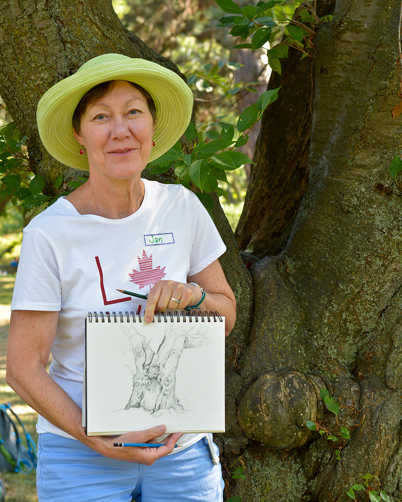 Sketching the Japanese cherry trees in High Park.