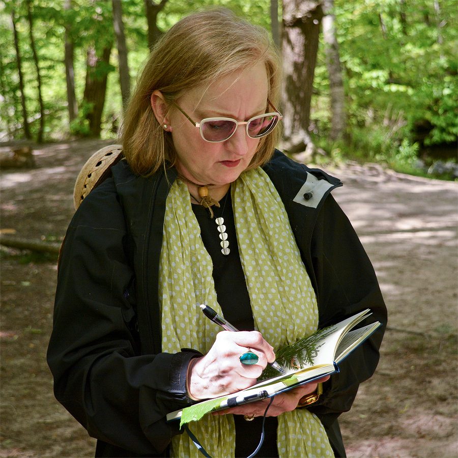 Hollye Maxwell sketching & taking in all the natural wonders that can be found in the ravines.