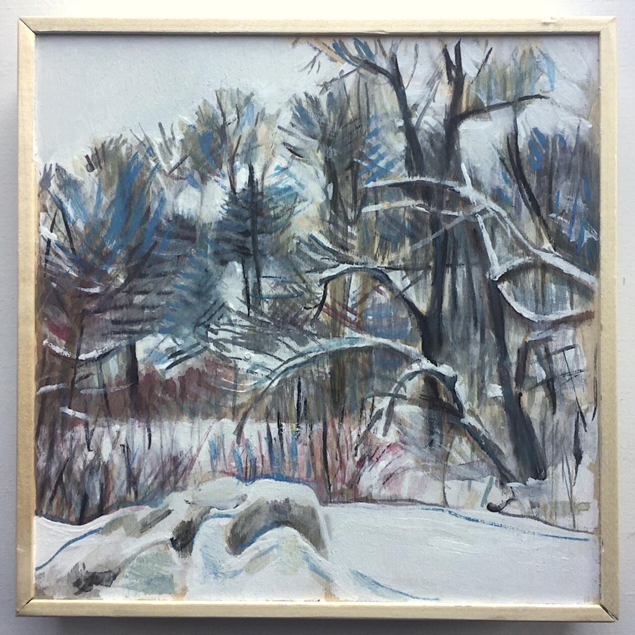 "March, 8"" x 8"", Gouache on birch board"