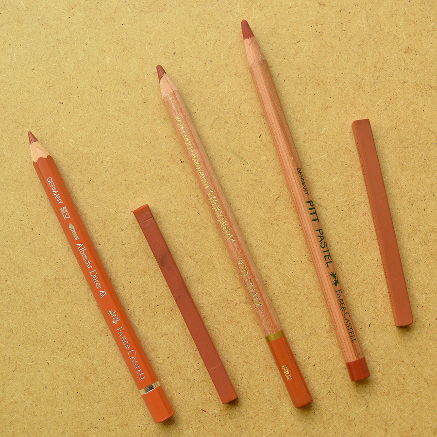 Examples of sanguine pencils and sticks that have made their way into my pencil tin over the years. They're not all alike, so it's best to experiment and find what works with the paper you're planning to draw on.