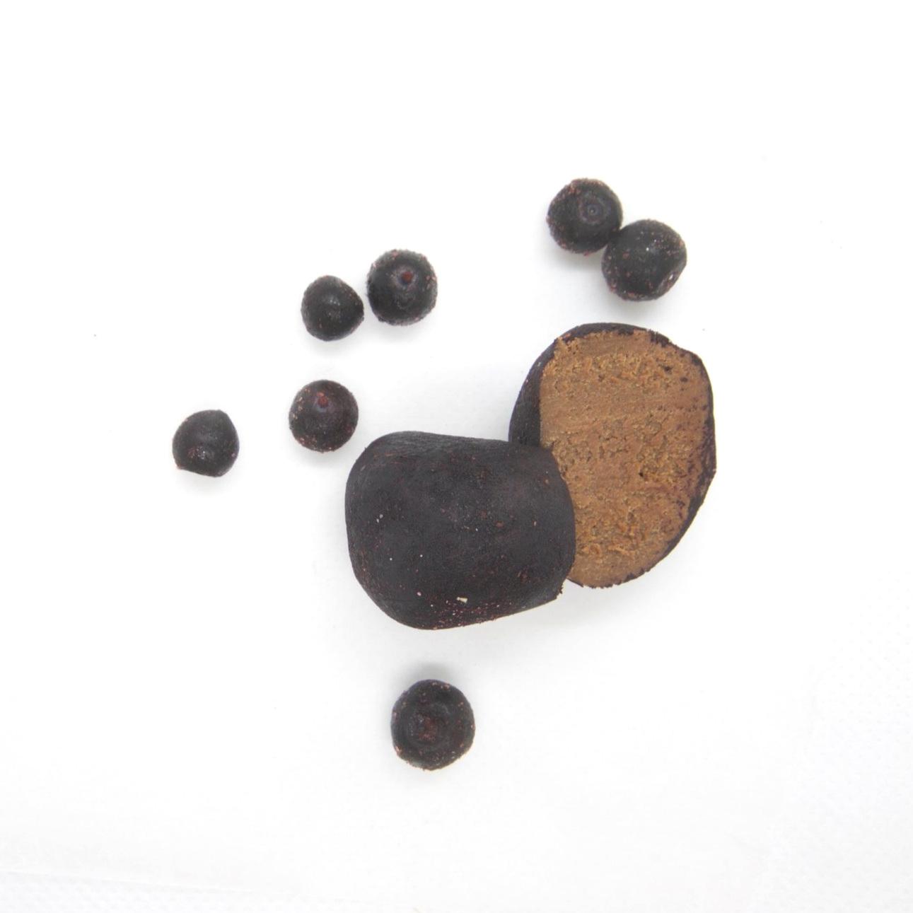 RAW VEGAN TRYFFEL - BLÅBÄR 40X15G Ingredienser:   CASHEWNÖTTER*, agave sirap*, kakaosmör*, kakaopulver*, torkad blåbär*, Bourbon vanilj*, pink Himalaya salt *= ekologisk produkt  (kan innehålla spår av mandel & hasselnötter)   Näringsvärde (100g):   Energi (kj/kcal) 1961/468 Fett 30,5g varav mättad 10,17g Kolhydrater 48,8g varav sockerarter 32,5g Fibrer 4,49g Protein 7g Salt 0,14g