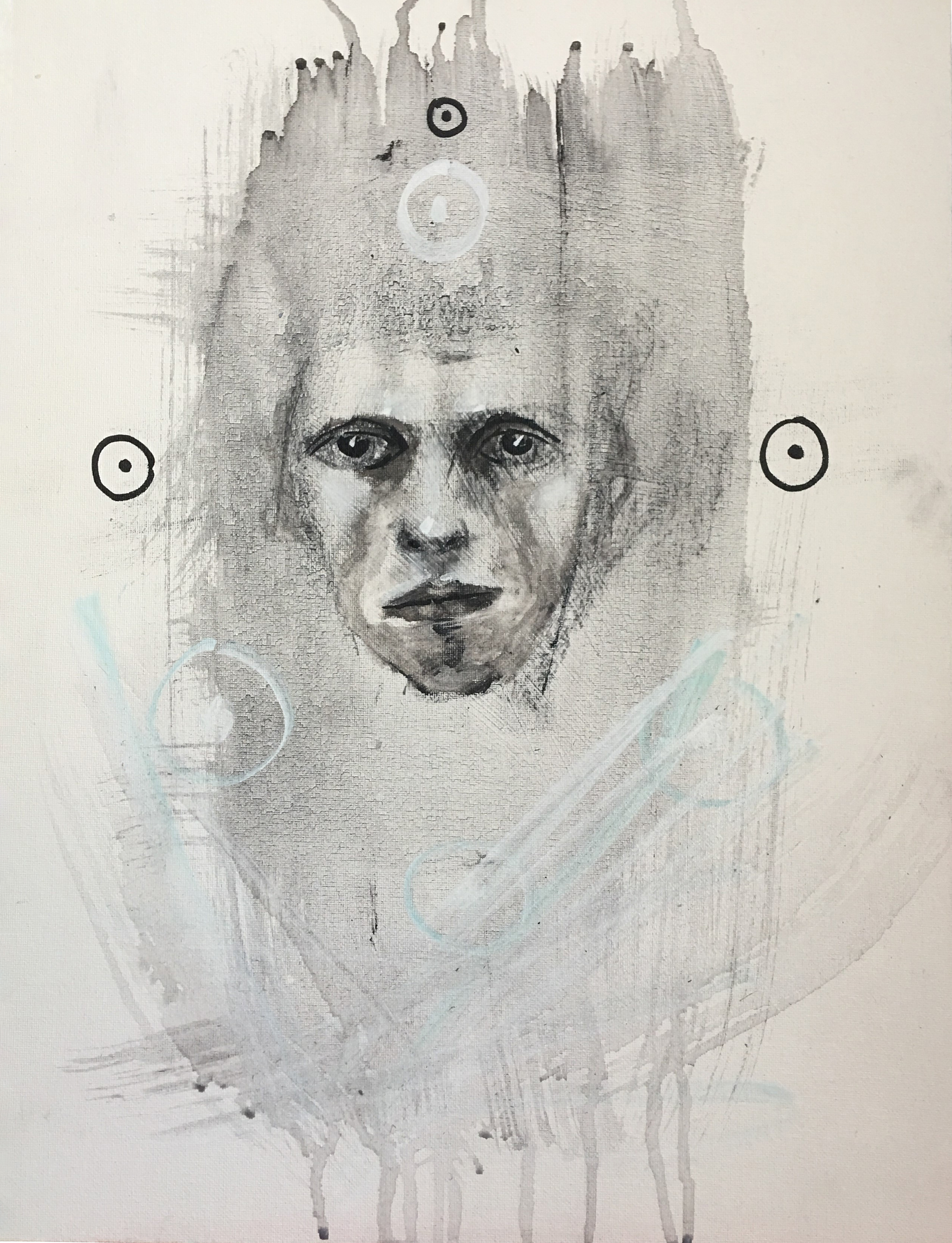 """15X18"""" Acrylic, Gesso and Charcoal on Masonite"""