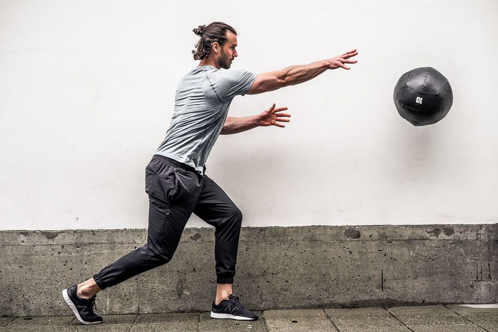 "Medicine Ball Power Throws   Hold the medicine ball in a power stance with hands in mid-section  Have the wall to your side  Pivot your feet and rotate your core to extend your arm  ""Shove"" the ball into the wall beside you"
