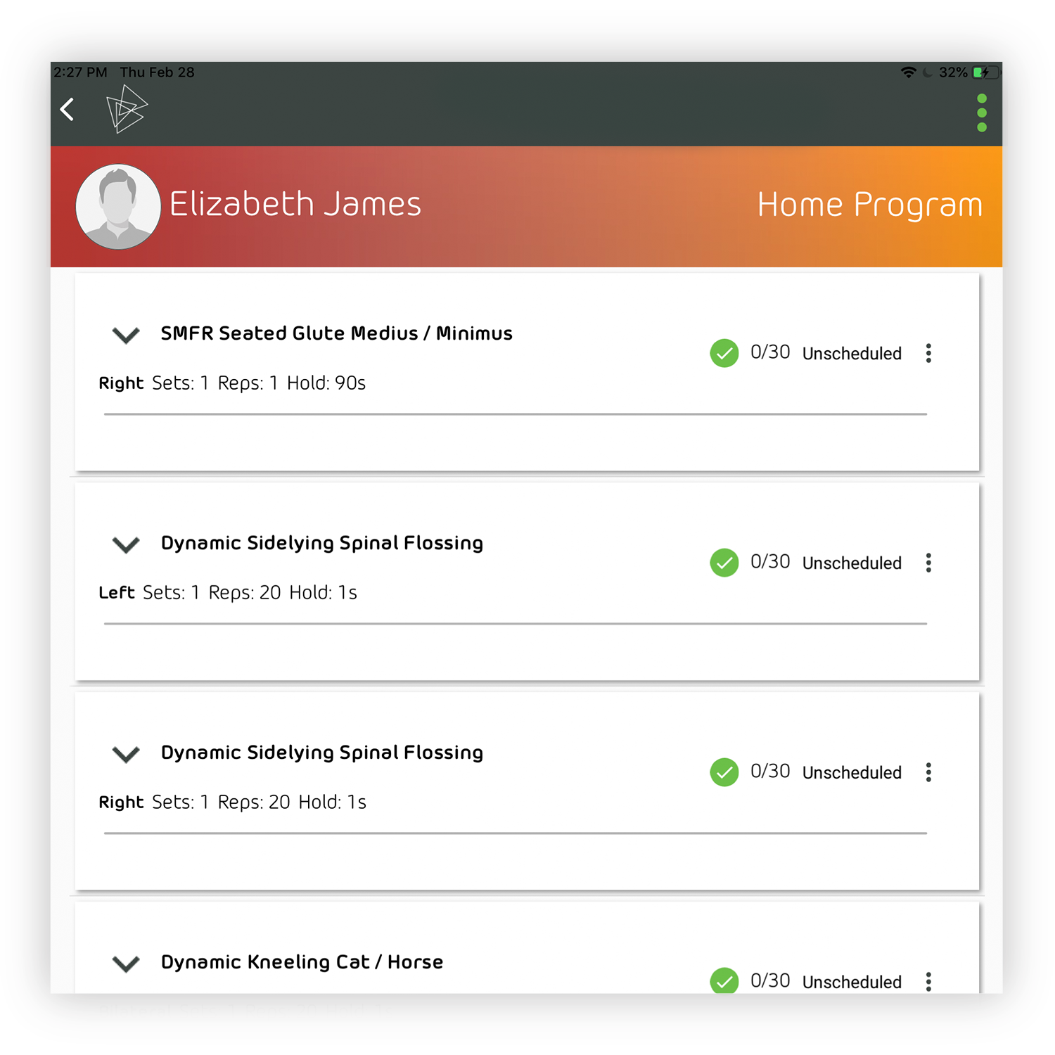 Participant Access - Participants can access their programs, check-in, and view video tutorials to feel confident executing programs on their own—all inside the Kinesics App Participant Portal.
