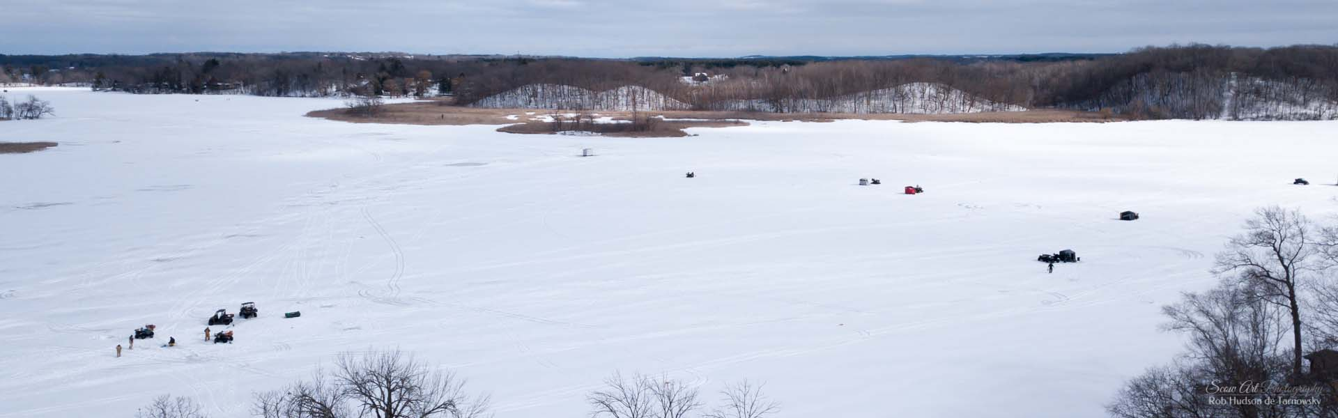 Ice fishing in the winter.