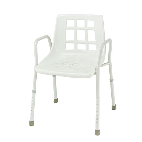 SHOWER CHAIRS  Height adjustable, non-slip shower chairs.