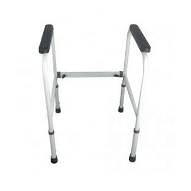 OVER TOILET FRAMES  Height adjustable, with or without splash guards and seats.