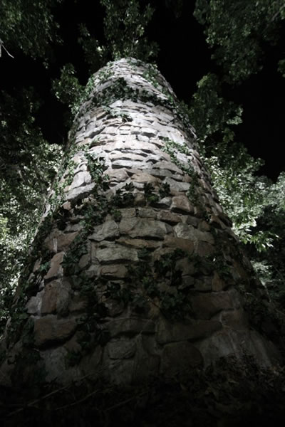 Albino Farm - feature film // Fake stone panels, scenic paint, and fake ivy were used to create the towers of Albino Farm.