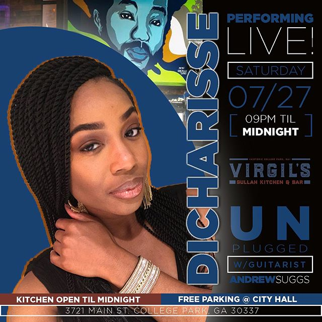 PERFORMING LIVE TONIGHT @dicharisse UNPLUGGED with @asuggs16 starting at PM! Dinner & Live Music EVERY Saturday! See you soon! . . . . . . . . #ATL #Atlanta #Gullah #SoulFood #AtlantaRestaurant #AtlantaEats #Foodie #ATLEats #HappyHour #Cocktails #Dinner #Cocktails #AtlantaFood #AtlantaLife #AtlantaFoodie #Geechee #ATLFoodie #ATLFood #GullahGeechee #VirgilsGullahGeechee #ATLNights #AtlantaRestaurants #FoodPorn #Foodstagram #FoodGasm #InstaFood #GullahCulture #GullahFood #GeecheeEats #music #livemusic