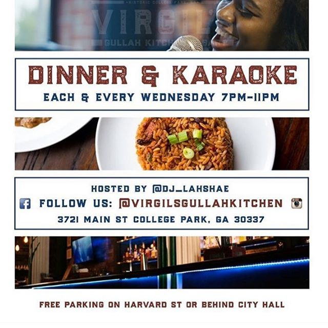 It's Dinner & Karoake Wednesdays with @dj_lahshae! Bring a friend or two and join us for good food, strong drinks and lots of singing at Virgil's! . . . . . . . . #ATL #Atlanta #Gullah #SoulFood #AtlantaRestaurant #AtlantaEats #Foodie #ATLEats #HappyHour #Cocktails #Dinner #Cocktails #AtlantaFood #AtlantaLife #AtlantaFoodie #Geechee #ATLFoodie #ATLFood #GullahGeechee #VirgilsGullahGeechee #ATLNights #AtlantaRestaurants #FoodPorn #Foodstagram #FoodGasm #InstaFood #GullahCulture #GullahFood #GeecheeEats