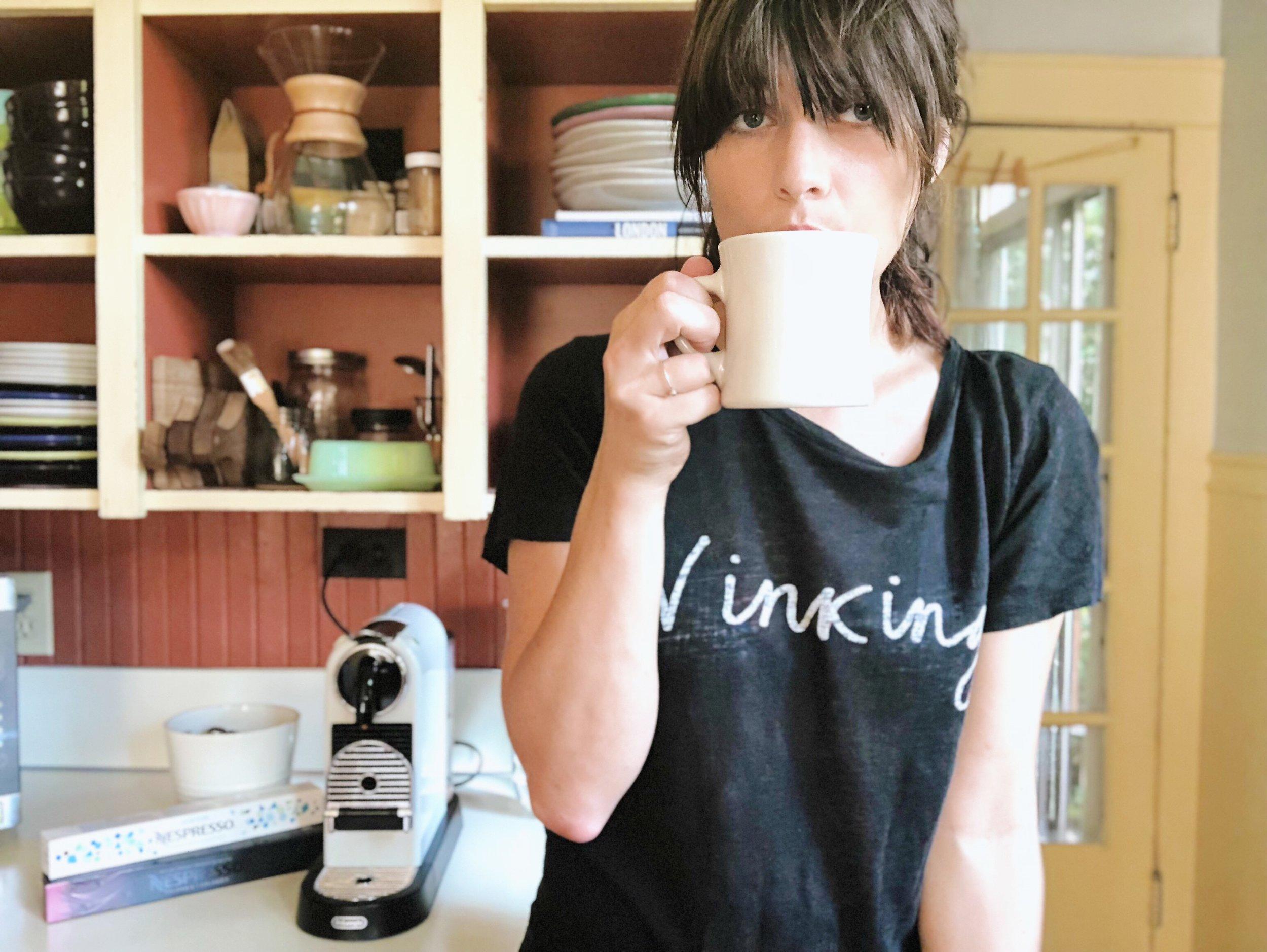 Gretchen has the floor, nexpresso, coffee