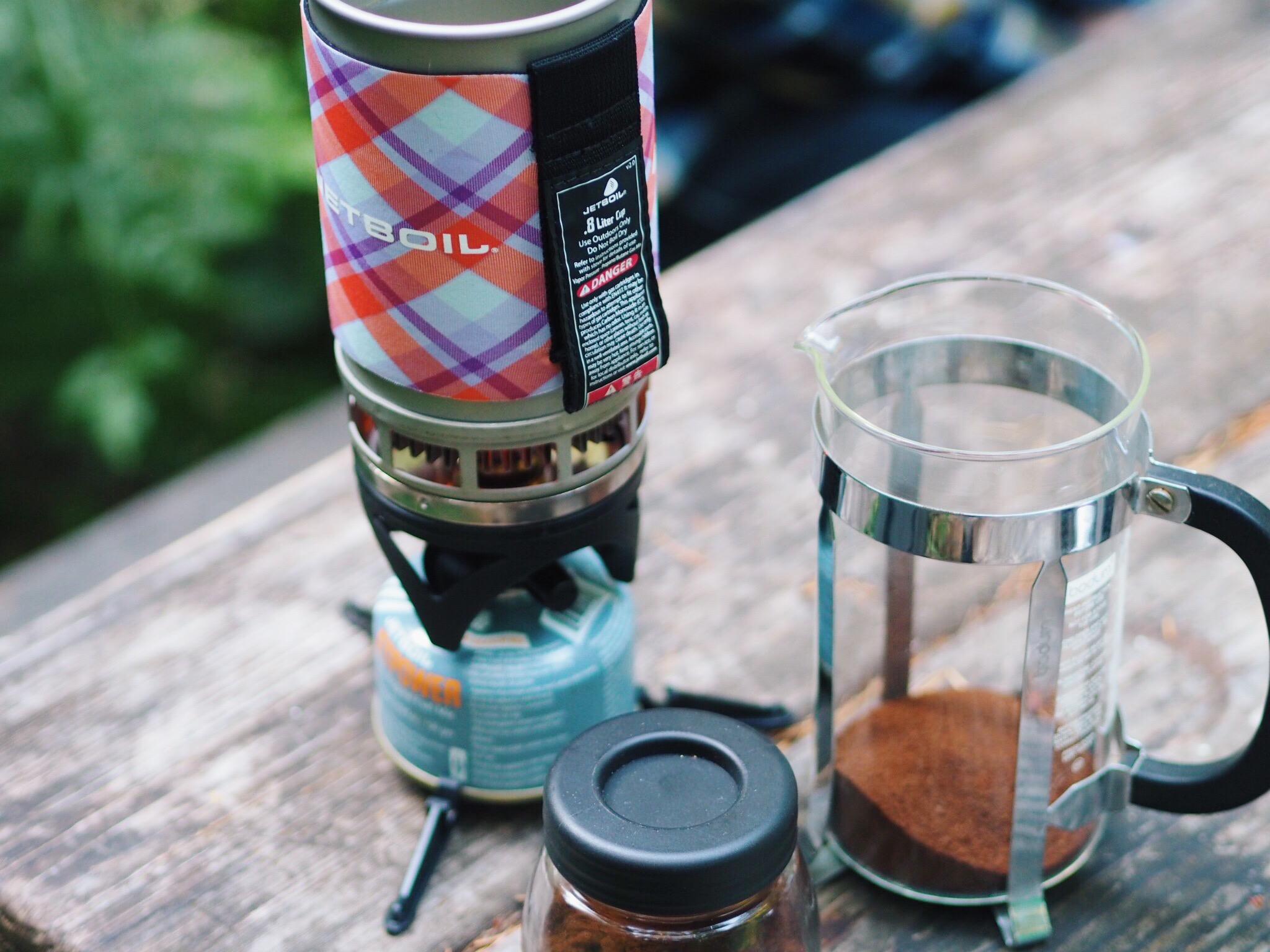 jet boil, french press, camping, oregon, coffee