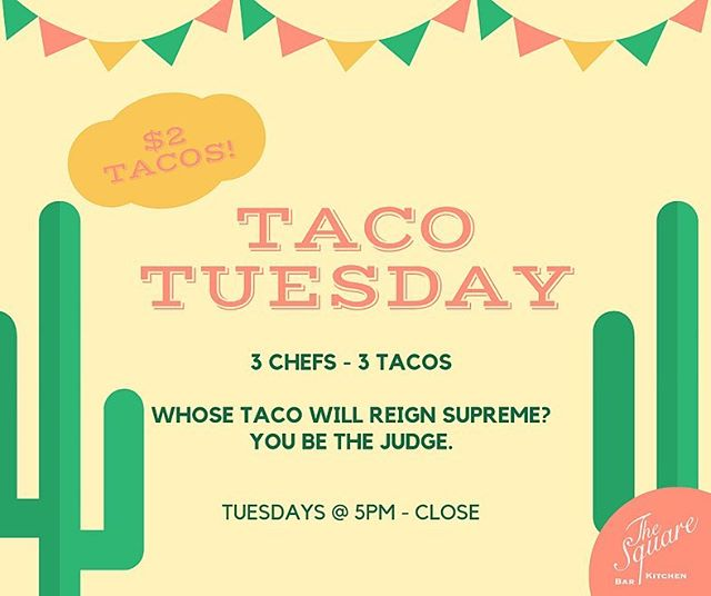 It's #TacoTuesday at The Square! 🌮 3 different choices ~ only $2 per taco!! . . . #TheSquareSharon #EatDrinkGather #LetsMeetAtTheSquare #TacoTuesday #Taco #Tacos #Local #EatLocal #DrinkLocal #CraftBeer #InstaBeer #BeerLover #Cocktails #Drinks