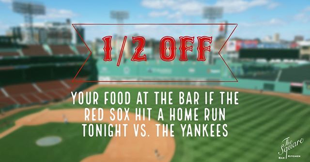 1/2 OFF FOOD TONIGHT @ the bar if the Red Sox hit a home run vs. the Yankees ⚾️ Game starts at 7:10pm! ⠀⠀⠀⠀⠀⠀⠀⠀⠀⠀⠀⠀⠀⠀⠀⠀ .⠀⠀⠀⠀⠀⠀⠀⠀⠀ . .⠀⠀⠀⠀⠀⠀⠀⠀⠀⠀⠀⠀⠀⠀⠀⠀⠀⠀ #TheSquareSharon #EatDrinkGather #LetsMeetAtTheSquare #EatLocal #DrinkLocal #RedSox #HomeRun