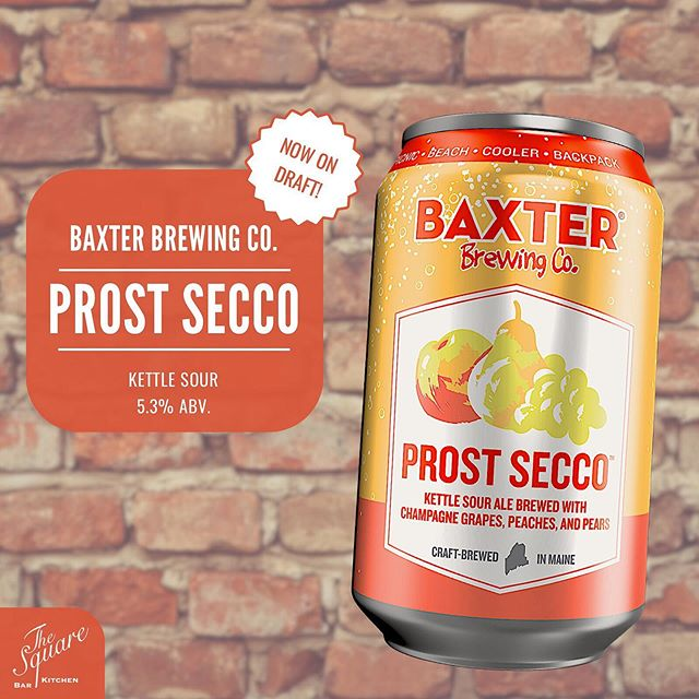 """PROST SECCO 🍺 Straight out of """"Vacationland"""" Baxter Brewing Company's innovative Kettle Sour Ale is now on draft! The perfect combination of German Sour Ales & Sparkling Wines. This is the crisp, refreshing summer brew you've been waiting for! .⠀⠀⠀⠀⠀⠀⠀⠀⠀⠀⠀⠀⠀⠀⠀⠀⠀⠀⠀⠀ . .⠀⠀⠀⠀⠀⠀⠀⠀⠀⠀⠀⠀⠀⠀⠀⠀⠀⠀⠀⠀ #TheSquareSharon #EatDrinkGather #LetsMeetAtTheSquare  #DrinkLocal #CraftBeer #CraftBrew #InstaBeer #BeerGarden #BeerSnob #BeerLover #BeerTime #BaxterBrewing #ProstSecco #KettleSour"""