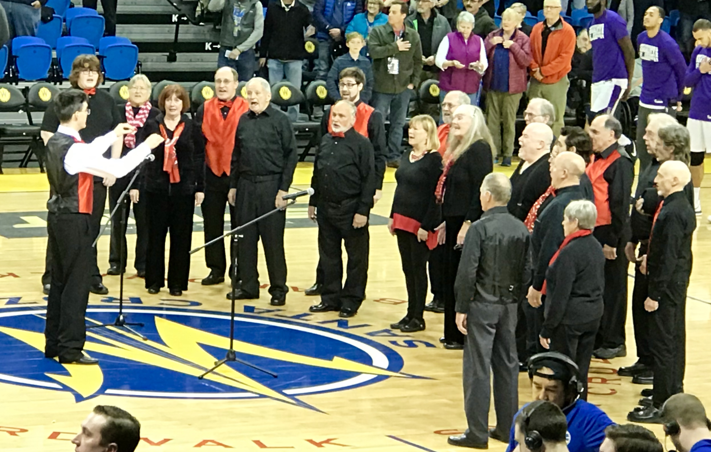 Gold Standard Chorus opens Santa Cruz Warriors game with the National Anthem barbershop style.