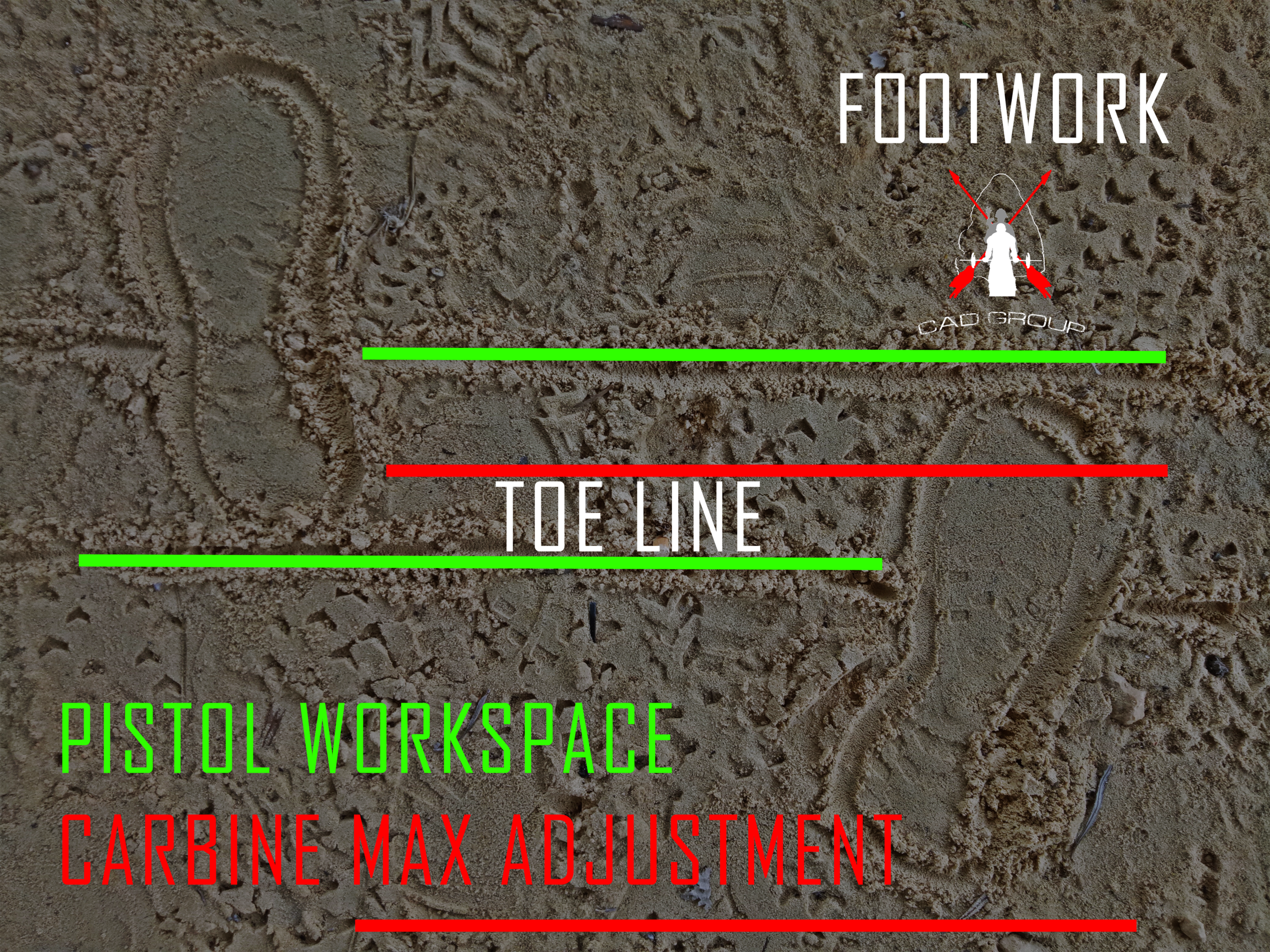 Fig 02 - The ideal stance for competition and definitely combat. When I run the carbine, you will find my right toe line will be closer inline with the heel line of my left foot to adopt a larger stride and wider base.