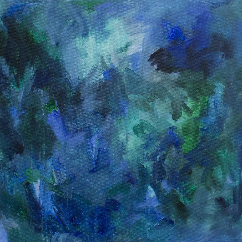 cool morning medium blue green abstract painting by Stephanie Kirkland.JPG