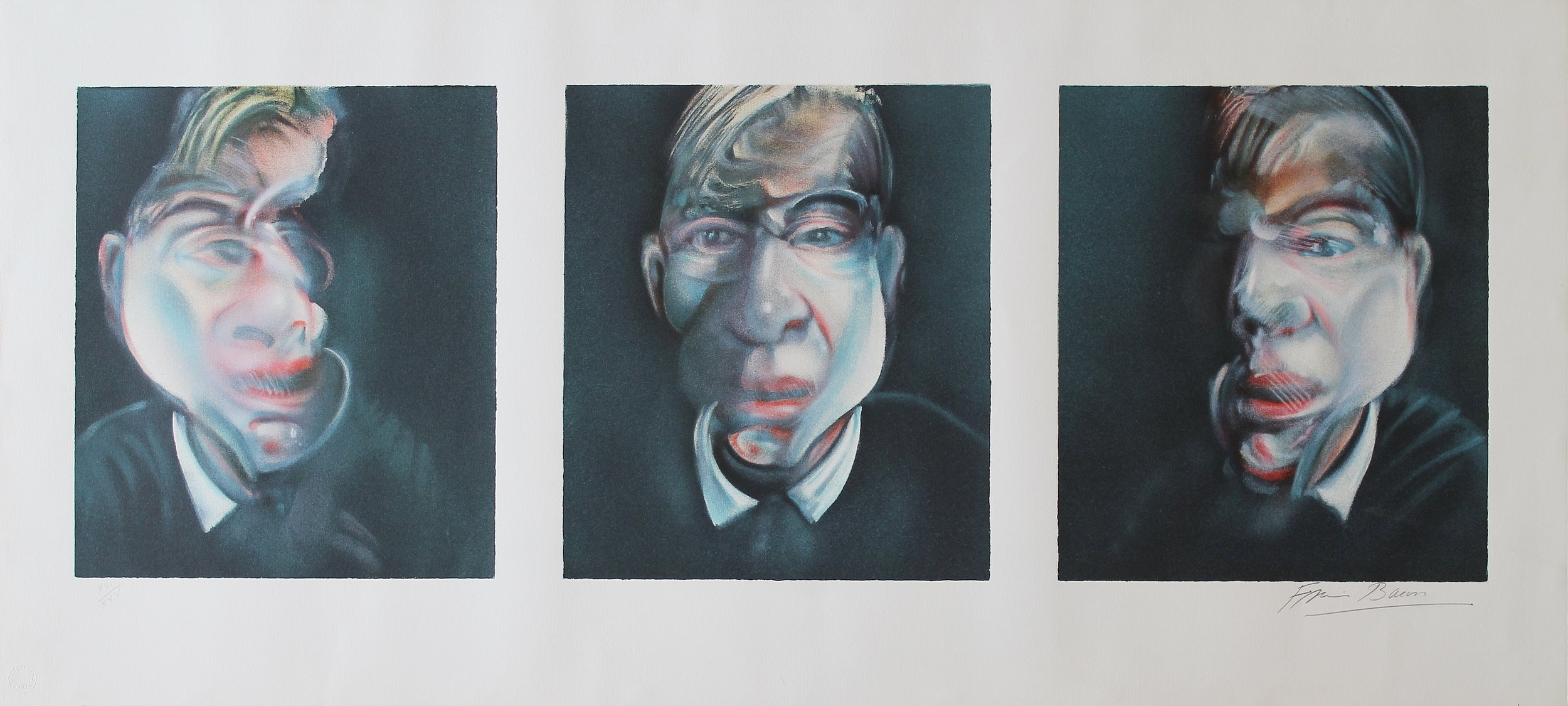 Francis Bacon,  Three Studies for a Self-Portrait, Lithographic Print, 47 x 104 cm, Edition of 150.