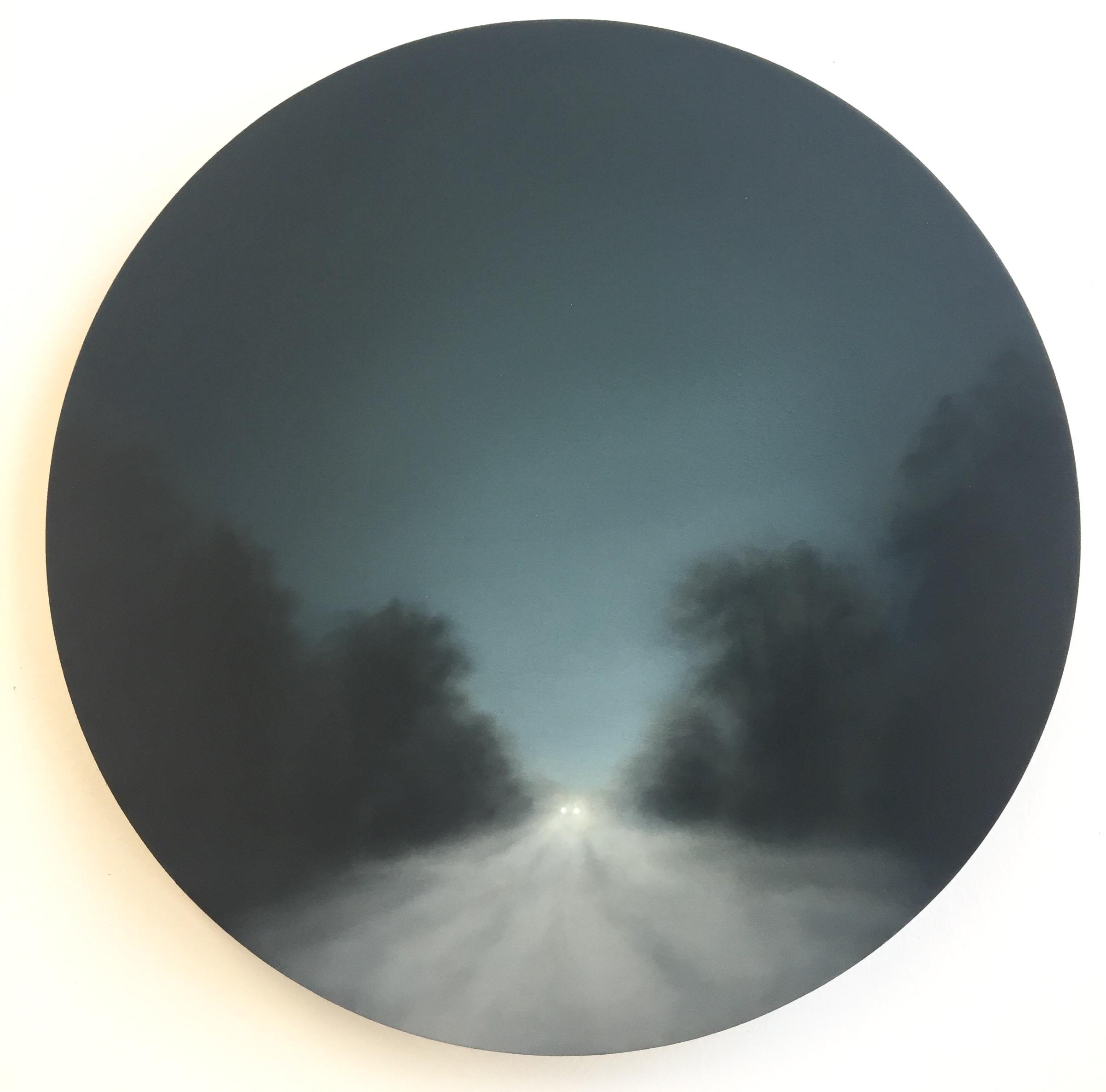 Gill Rocca (b. 1971),  Figment XXVII, Oil on birch ply, 30 cm diameter.