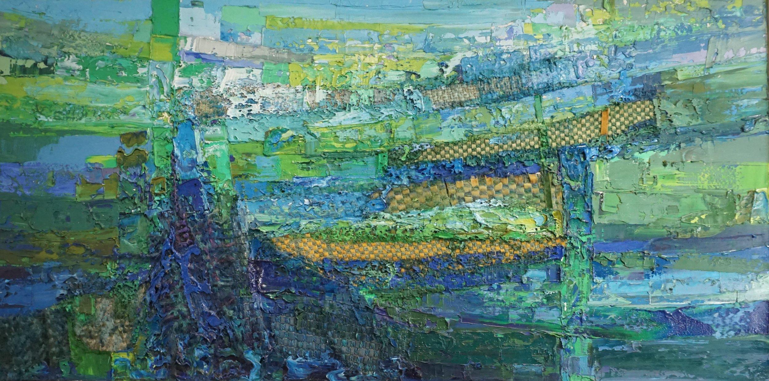 Bernat Klein (1922 - 2014),  Evening Blue, Oil and woven textiles on canvas, 96 x 187.5 cm.