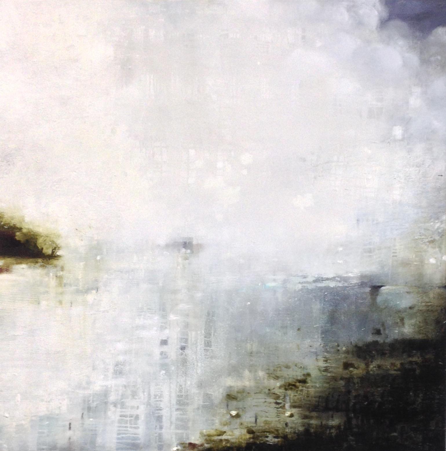 Gareth Edwards (b. 1960),  Geometry of Mist, Oil on Canvas, 110 x 110 cm