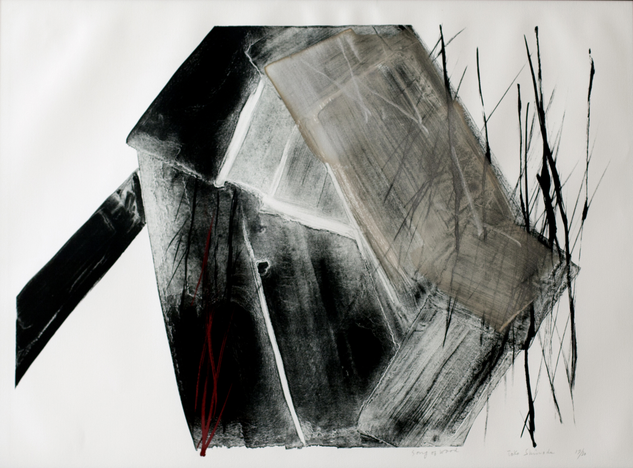 Toko Shinoda (b. 1913),  Song of Wood, 1988, lithograph with Sumi and gold brush strokes, 94 cm x 130 cm (framed). 17/30.