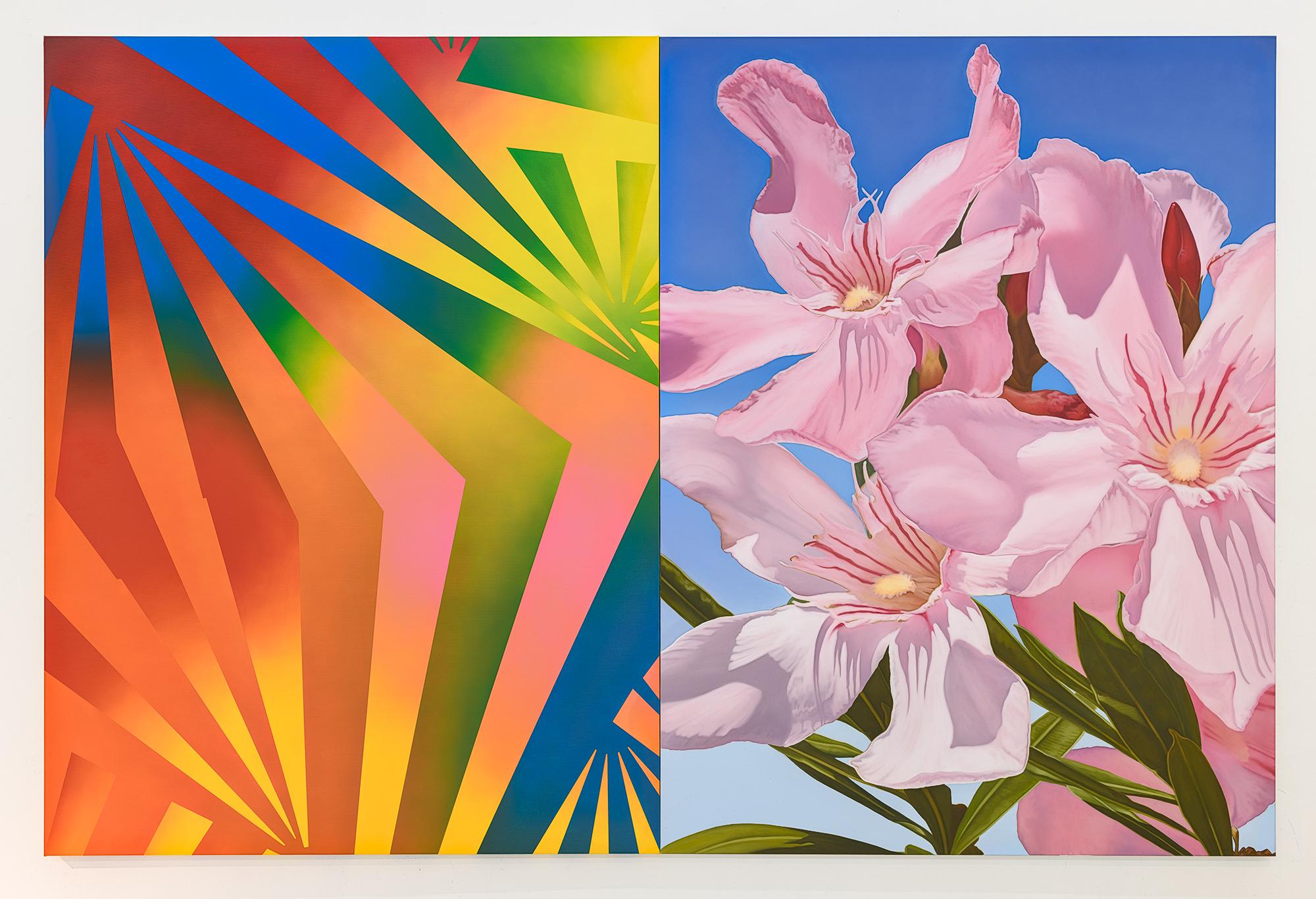 Mustafa Hulusi, (b. 1971),  Cyprus Realism (Oleander 1), Oil on Canvas, 2 parts, each part 204 x 153 cm.